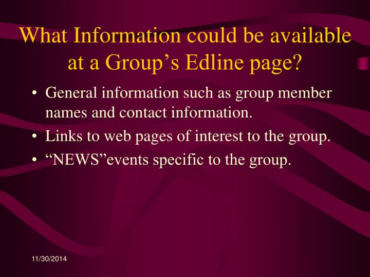 What Information could be available at a Group's Edline page?
