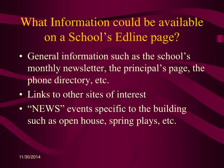 What Information could be available on a School's Edline page?