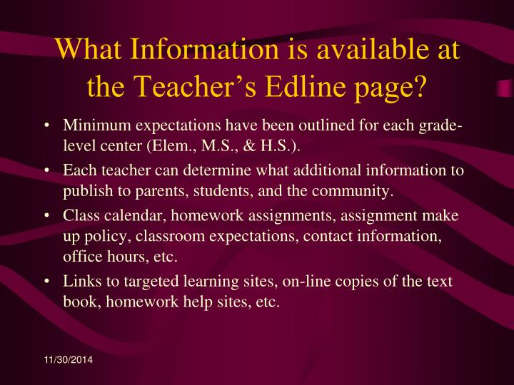What Information is available at the Teacher's Edline page?