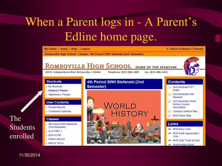When a Parent logs in - A Parent's Edline home page.