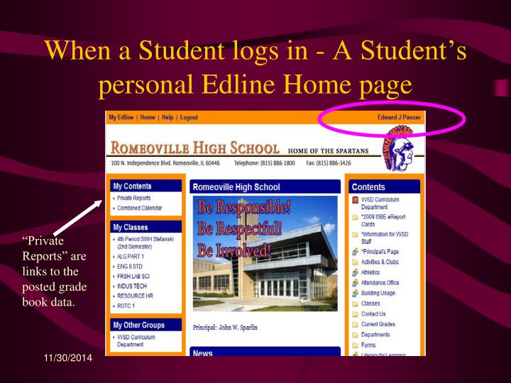When a Student logs in - A Student's personal Edline Home page