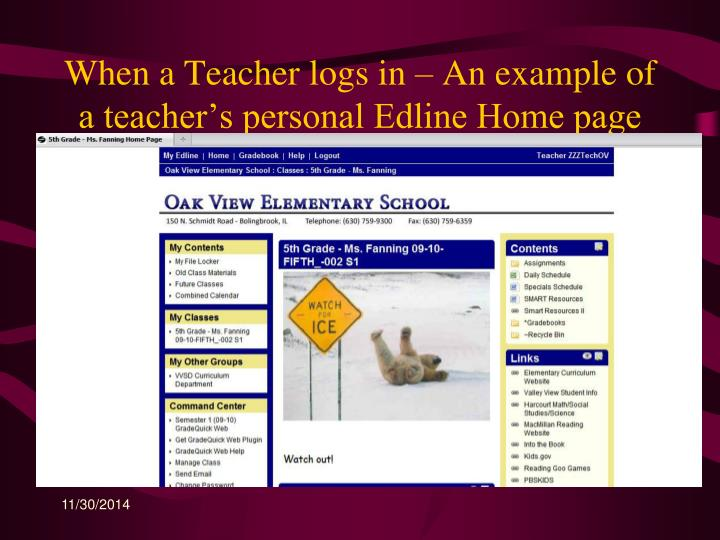 When a Teacher logs in – An example of a teacher's personal Edline Home page