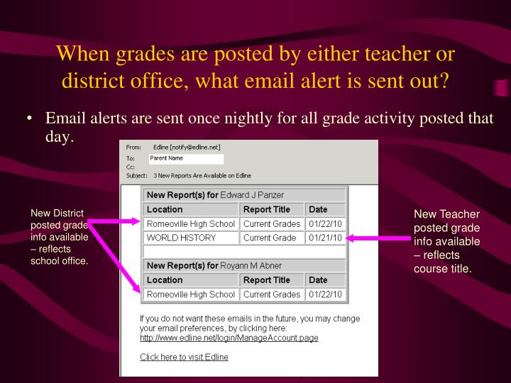 When grades are posted by either teacher or district office, what email alert is sent out?