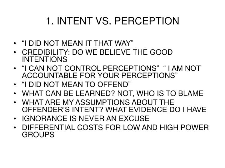 1. INTENT VS. PERCEPTION