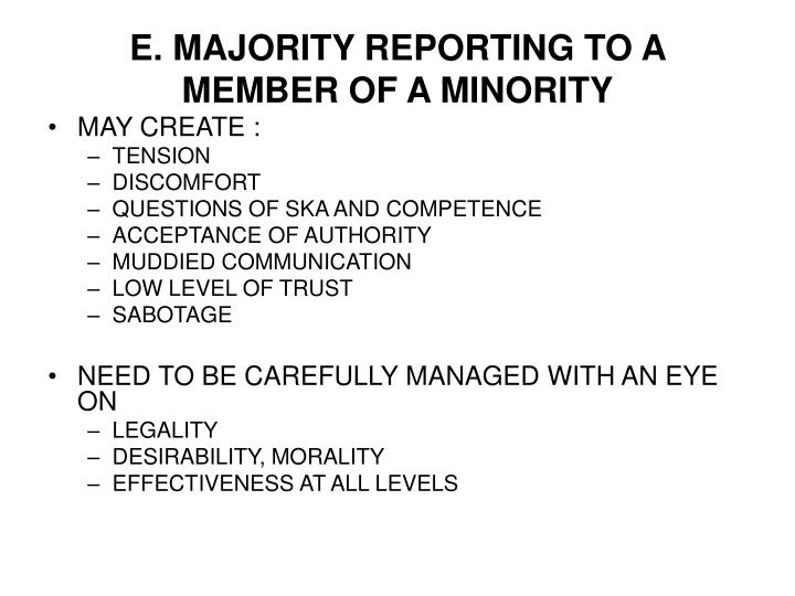 E. MAJORITY REPORTING TO A MEMBER OF A MINORITY