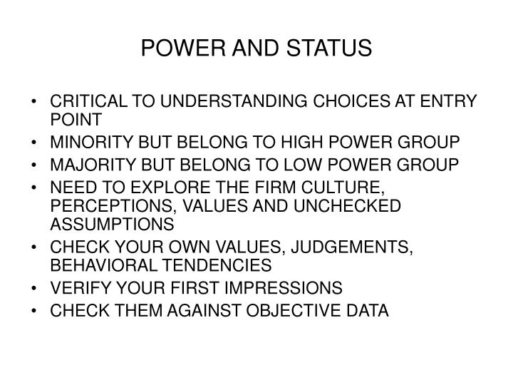 POWER AND STATUS