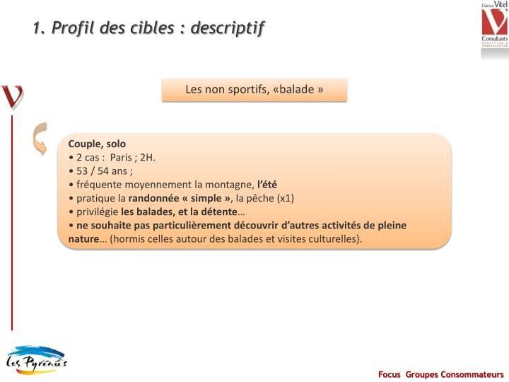 1. Profil des cibles : descriptif