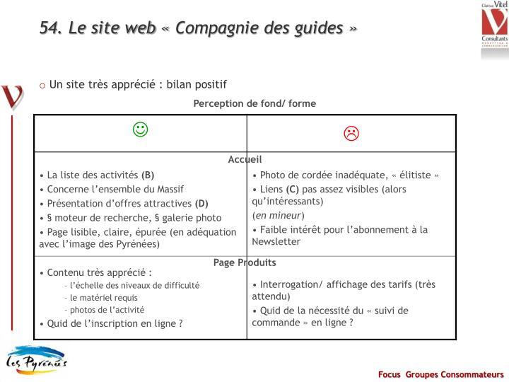 54. Le site web «Compagnie des guides»