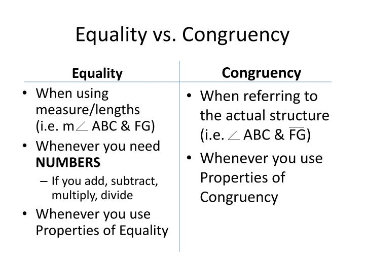 Equality vs. Congruency