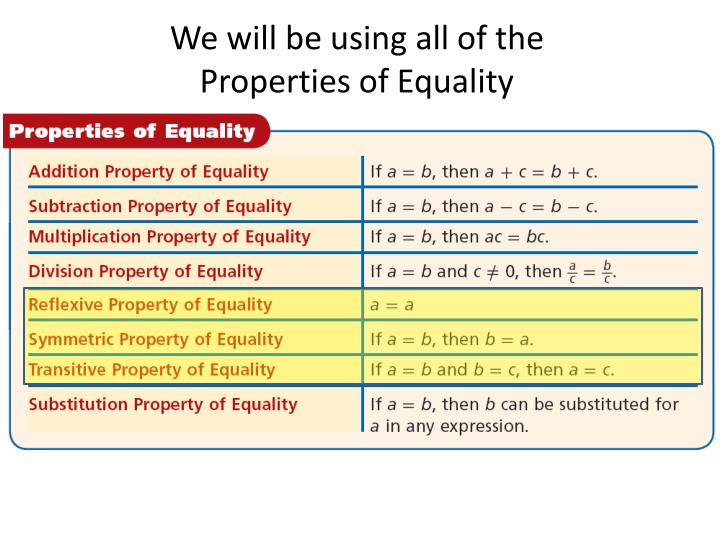 We will be using all of the Properties of Equality