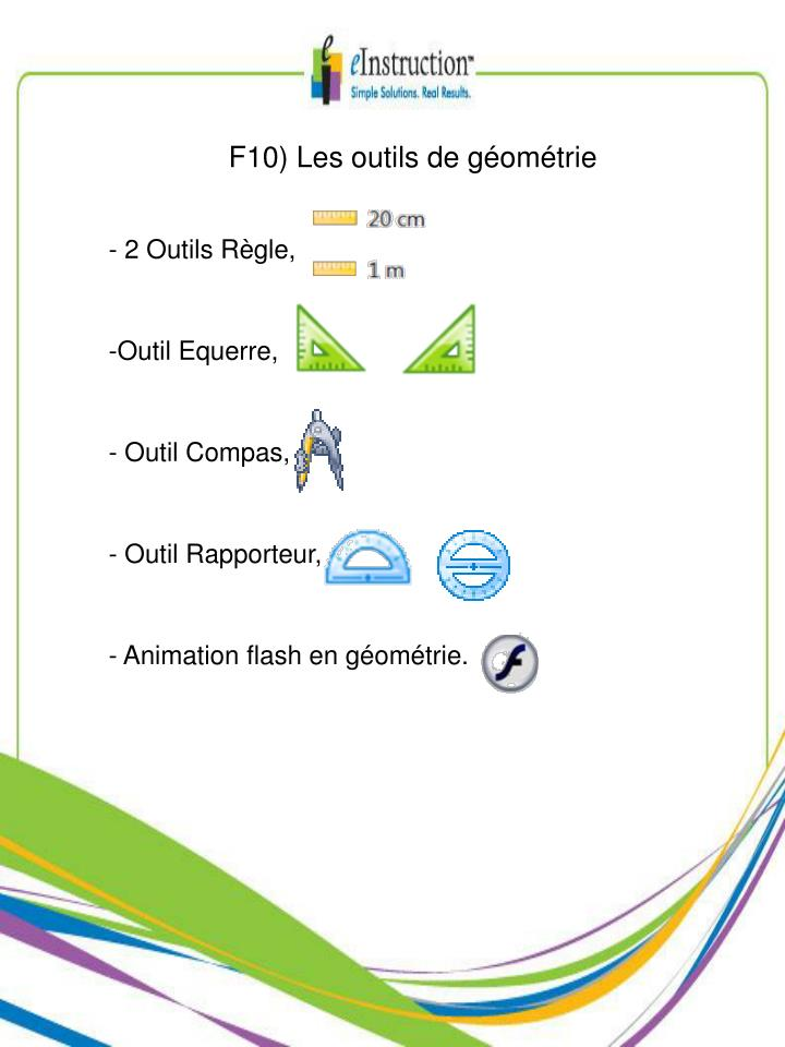 F10) Les outils de géométrie