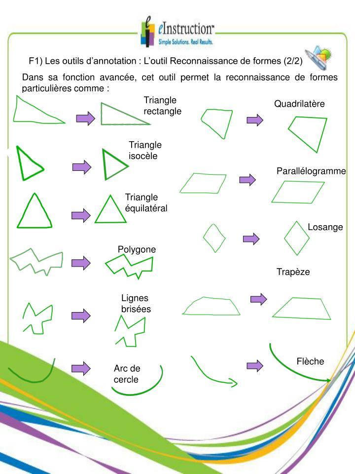 F1) Les outils d'annotation : L'outil Reconnaissance de