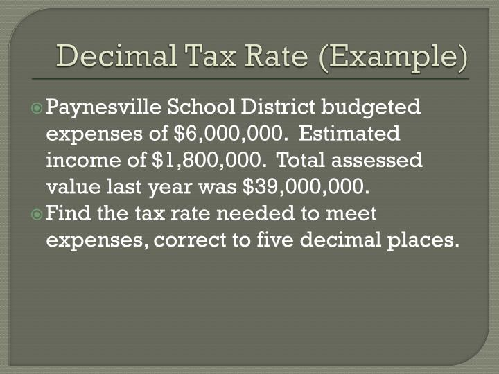 Decimal tax rate example
