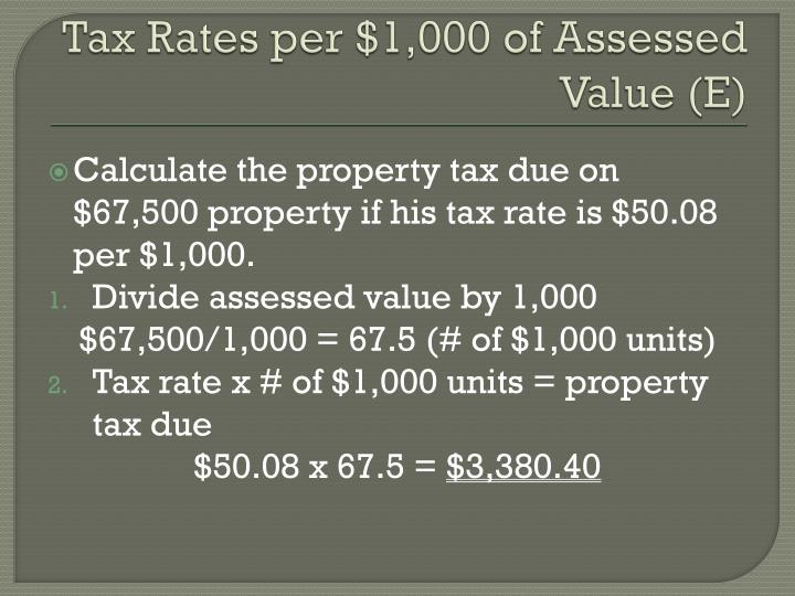 Tax Rates per $1,000 of Assessed Value (E)