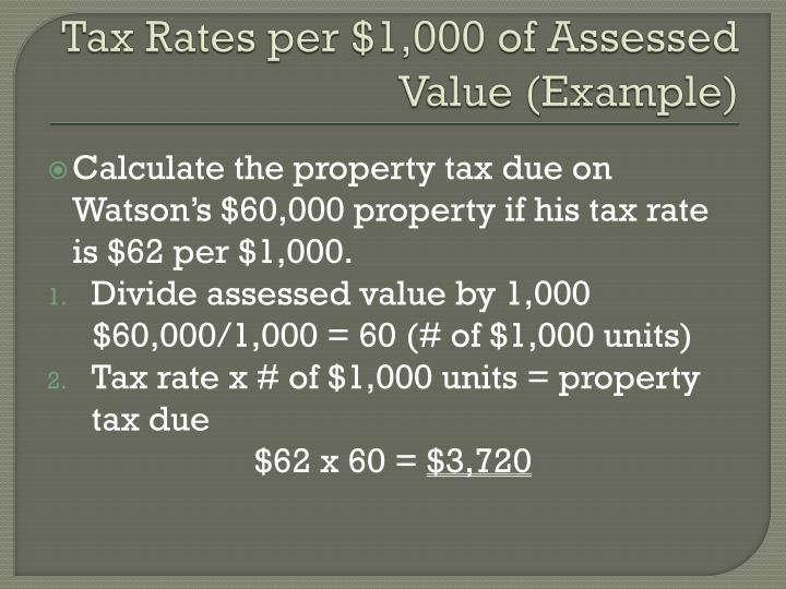 Tax Rates per $1,000 of Assessed Value (Example)