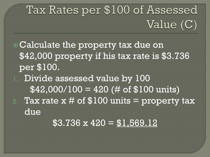 Tax Rates per $100 of Assessed Value (C)