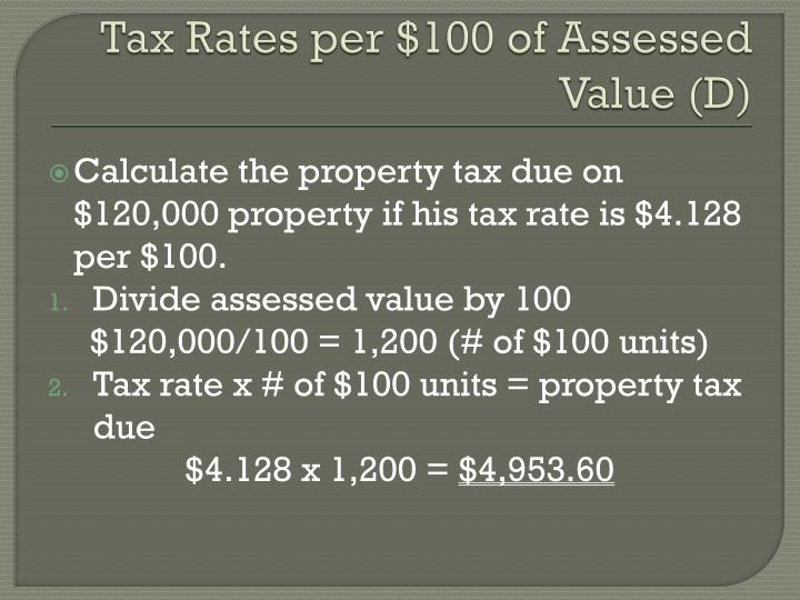 Tax Rates per $100 of Assessed Value (D)
