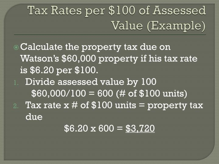 Tax Rates per $100 of Assessed Value (Example)