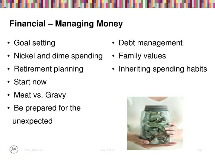 Financial – Managing Money