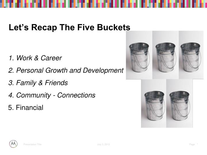 Let's Recap The Five Buckets