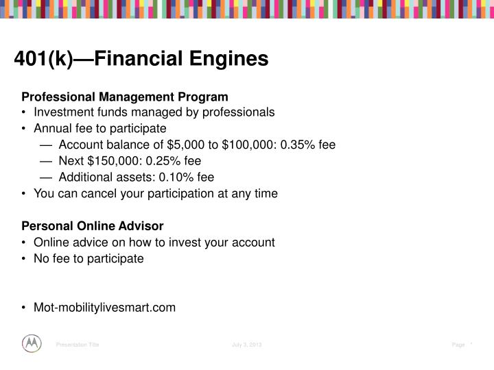 401(k)—Financial Engines