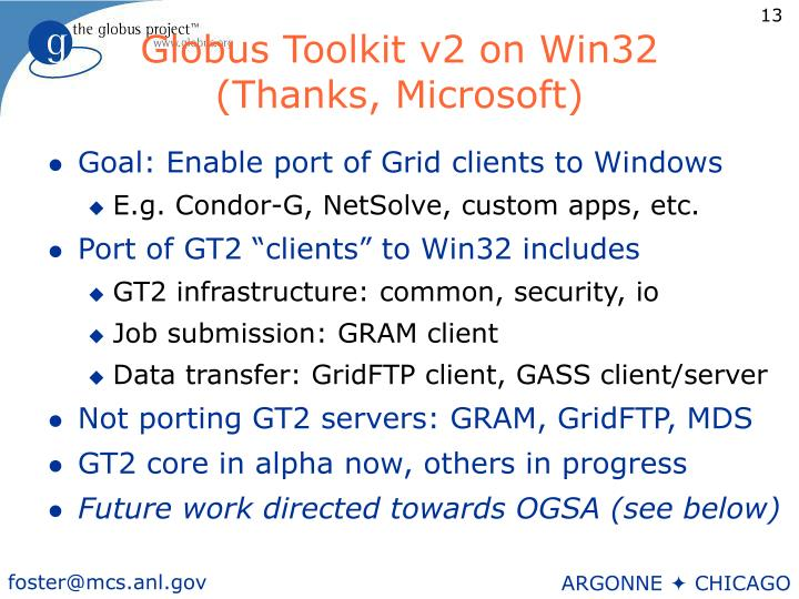 Globus Toolkit v2 on Win32