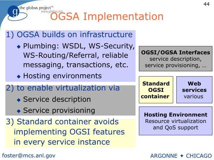 1) OGSA builds on infrastructure