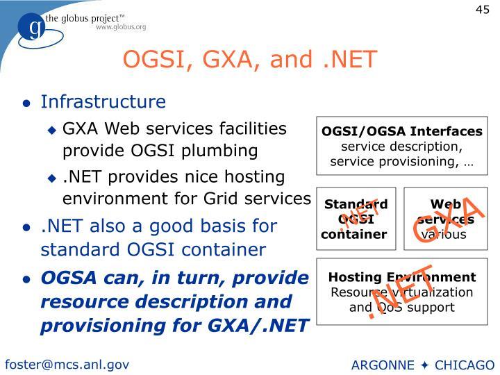 OGSI, GXA, and .NET