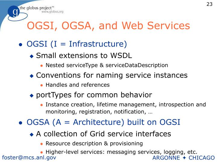 OGSI, OGSA, and Web Services