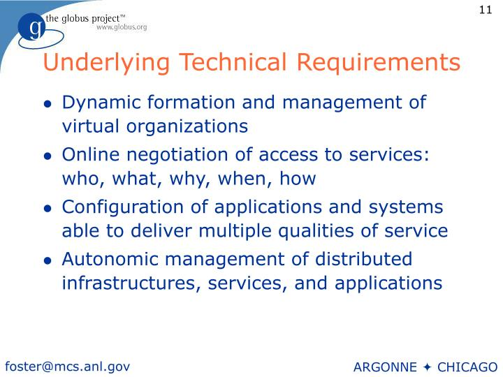Underlying Technical Requirements