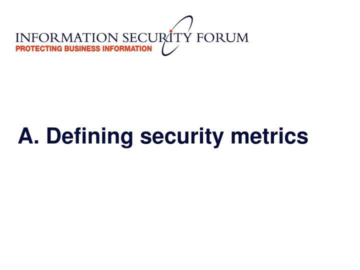 A. Defining security metrics