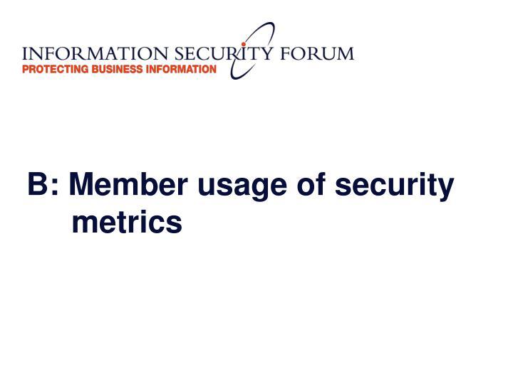 B: Member usage of security metrics