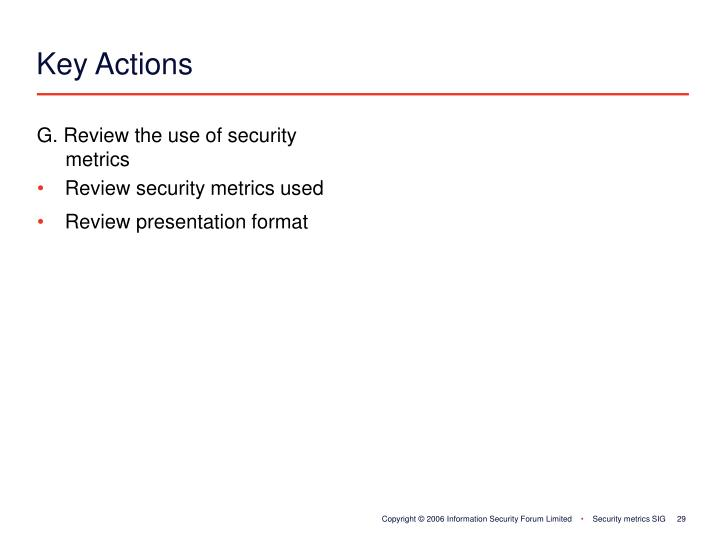 G. Review the use of security 	metrics