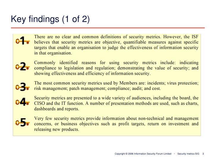 Key findings (1 of 2)