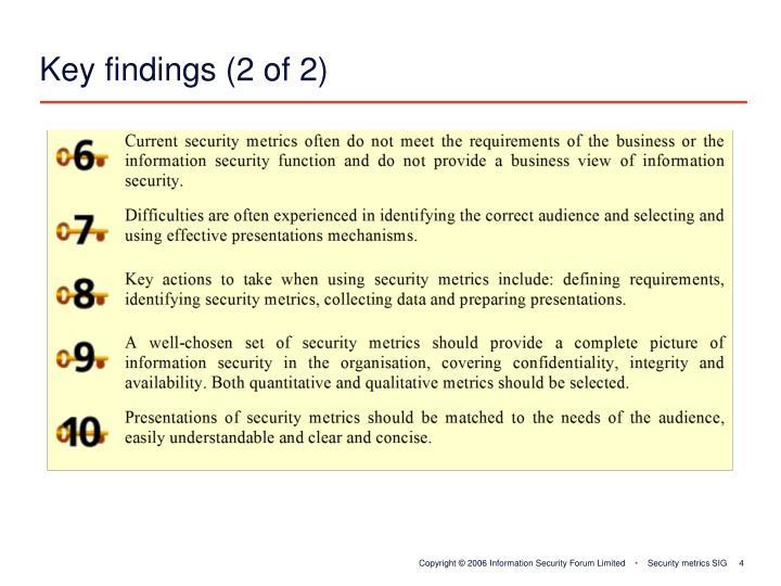 Key findings (2 of 2)
