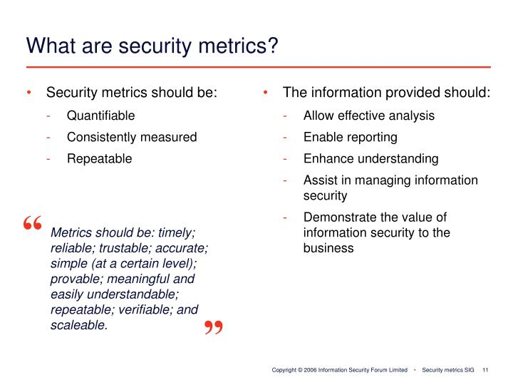 Security metrics should be: