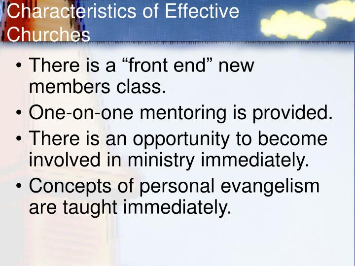 Characteristics of Effective Churches
