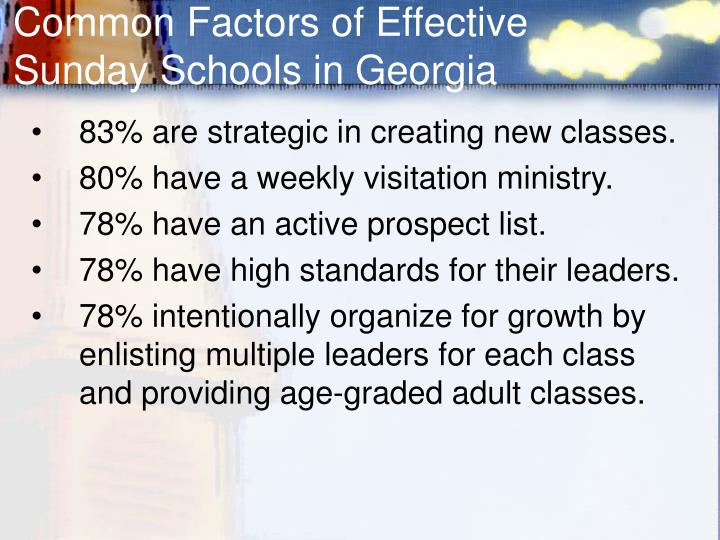 Common Factors of Effective Sunday Schools in Georgia