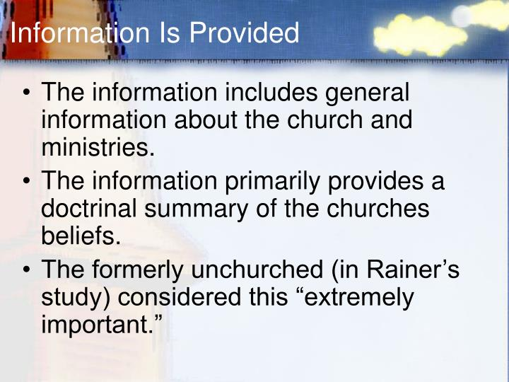 Information Is Provided