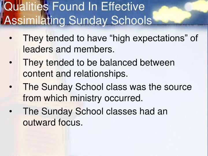 Qualities Found In Effective Assimilating Sunday Schools