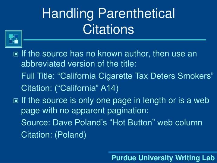 Handling Parenthetical Citations
