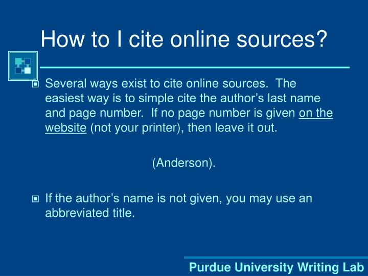 How to I cite online sources?