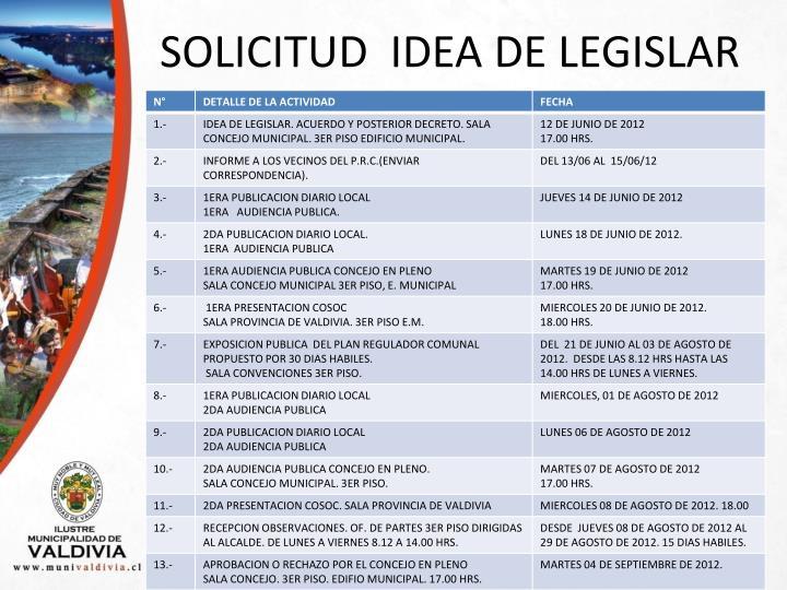 SOLICITUD  IDEA DE LEGISLAR