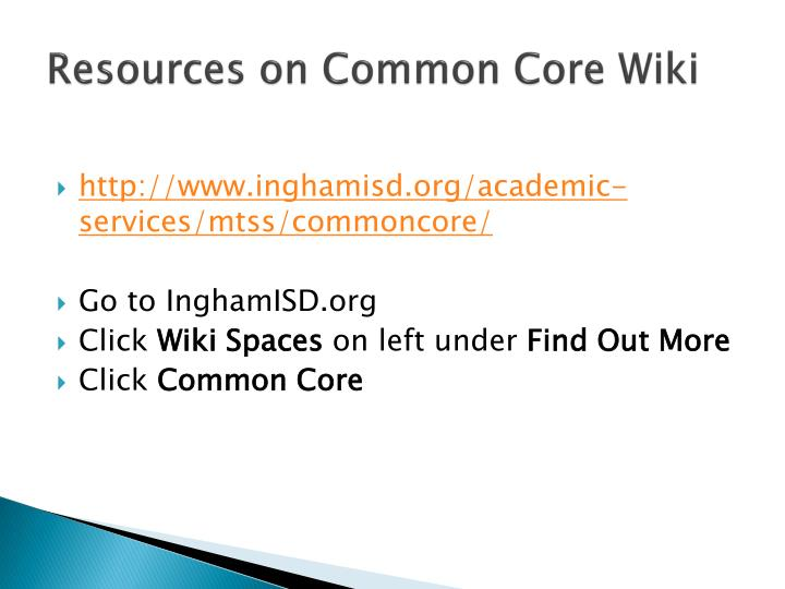 Resources on Common Core Wiki