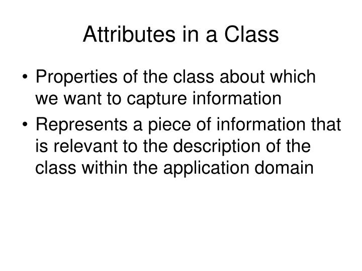 Attributes in a Class