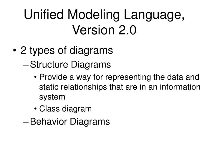 Unified modeling language version 2 0