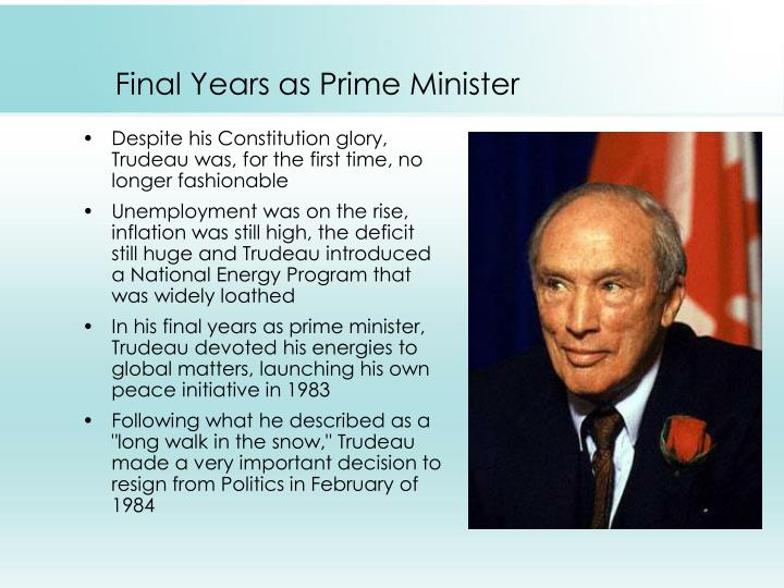 Final Years as Prime Minister