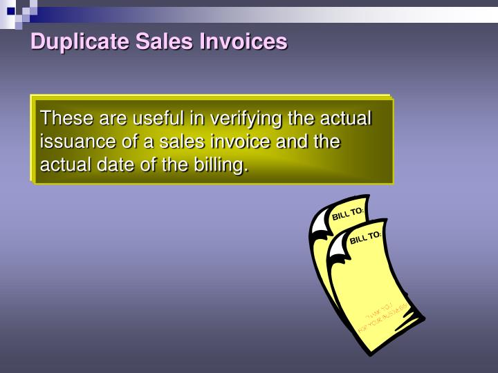 Duplicate Sales Invoices