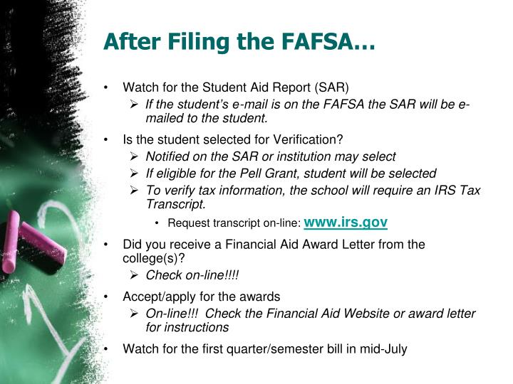 After Filing the FAFSA…