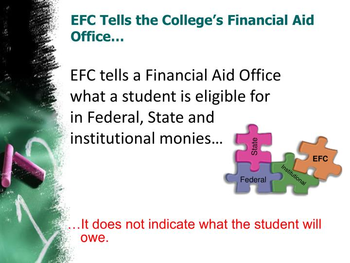 EFC Tells the College's Financial Aid Office…